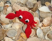 Red Crab - crochet brooch - pin - barrette - marine animal - sea ocean - crochet animal - alligator clip - gift for mother - mothers day