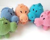 Baby toy hippo Colorful baby rattle First baby Toy Rattle Crochet baby toy Animal Africa Safari Safe Ecofriendly Waldorf toy Nursery decor