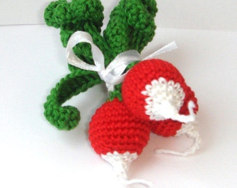 Radish Play food Crochet Vegetable Garden harvest Kitchen decor Farmers market Natural Ecofriendly Baby toy