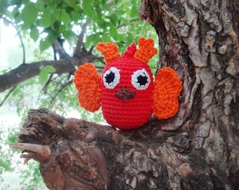 Owl Baby toy,Owl Rattle,Hanging baby toy,Car seat toy,Stroller toy,Red orange,Teether owl,Halloween,Room decor, Woodland forest Ornament