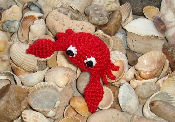 Red Crab - crochet brooch - pin - barrette - marine animal - sea ocean - crochet animal - alligator clip - gift for mother - mothers day