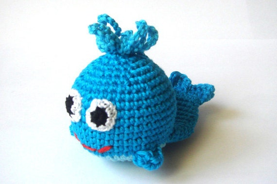Crochet Toy Whale Blue Marine Animal Rattle First toy for your baby Breastfeeding Nursing toy Toy rattle Room decor Sea Ocean Amigurumi