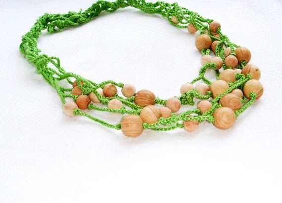 Nursing necklace Rustic  Green  Brown Simple Natural fashion Elegant Ecofriendly organic Crochet Cotton necklace