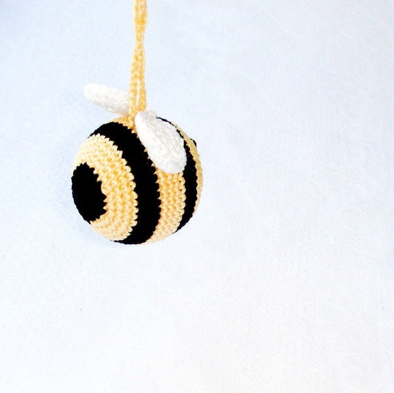 Baby toy Bumble,Bee Rattle,Bee honey toy,Baby shower gift,Nursery decor,Striped Yellow black,Hanging baby toy,Car seat toy,Stroller toy