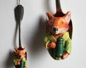 Sculpture de renard à la cafetière, dans une cuillère