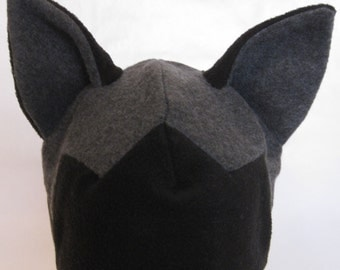SIlver Fox fleece hat--charcoal & black