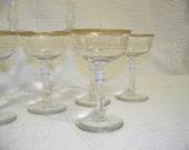 Vintage 1950s Set of 7 Crystal Champagne Glasses with 22K Gold Rims
