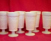 Vintage 1950s Milk Glass Wine Goblets Grape Design- Set of 6