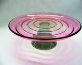 Vintage 1970s Tri-Color Iridescent Cake Stand- Pink, Yellow, Blue