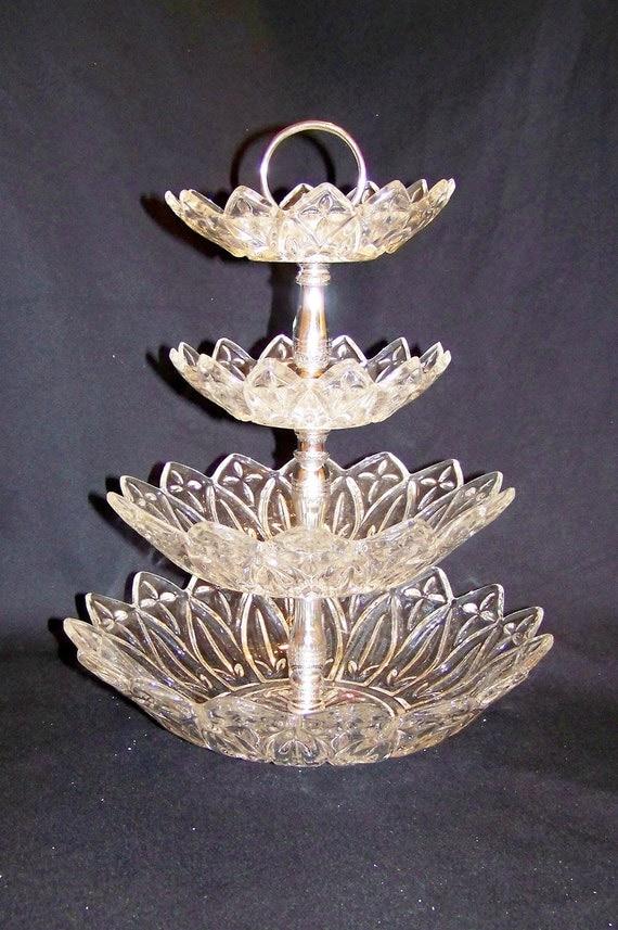 Vintage Four Tier Cut Glass Dessert Serving Dish Tray