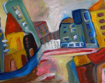 Large oil Painting Modern Original Art Abstract Cityscape Wahsnigton D.C West Side