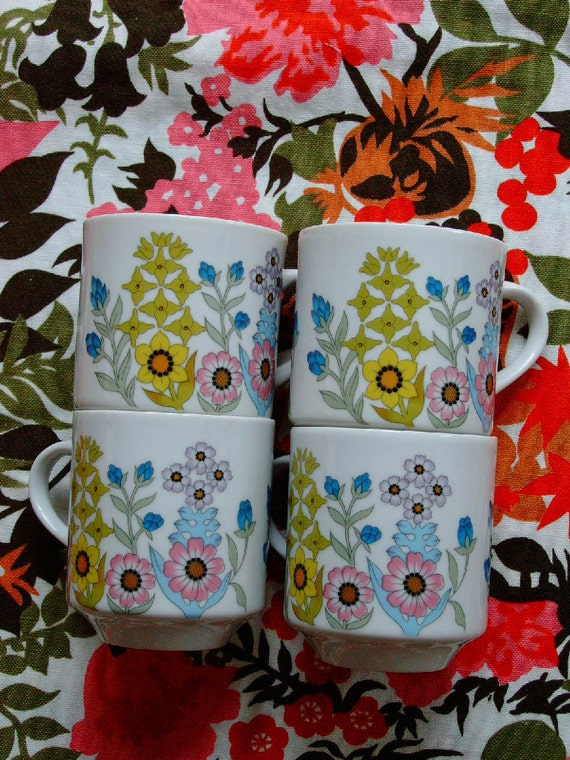 set of four vintage japanese floral mugs