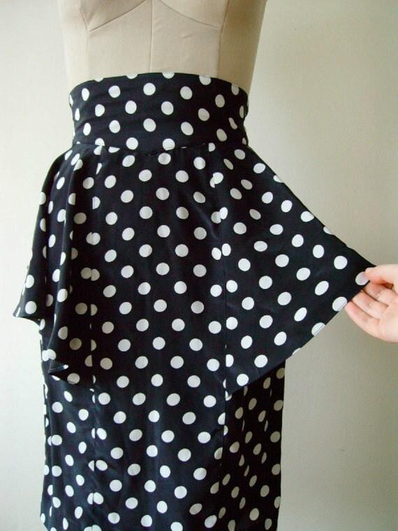 polka dot pencil skirt with peplum