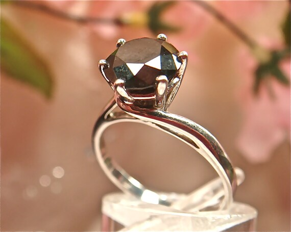 RESERVED for Jennifer - 75% Off Black Diamond Ring w/ HUGE 1.5ct Solitaire  - Engagement, Wedding - Solid White Gold. (Value 3,200 USD)