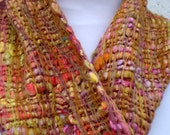 Handwoven Rainbow Scarf in Homespun and Hand-dyed Silk