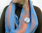 Handwoven Wool/Cashmere Blue and Orange Cowl