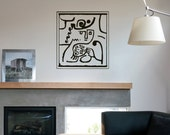 "Wall Art inspired by Paul Klee ""Mother & Child"" vinyl wall decal removable wall decor (ID: 111002)"