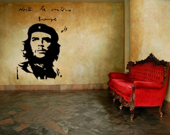 Che Guevara portrait and quote vinyl wall decal removable wall decor (ID: 131043)