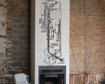 Science art Van de Graaff accelerator atom smasher vinyl wall decal for your lab classroom school university scientific decor (ID: 121050)