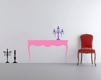 Furniture antique classic table with candelabrum vinyl wall decal / sticker / mural