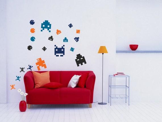 Wall Art - Pixel art arcade 8-bit sprites vinyl wall decal retro game pixel art wallpaper  (ID: 111036)