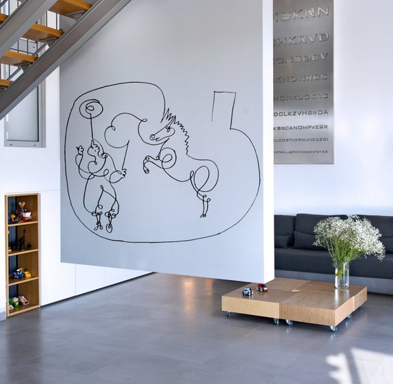 "Wall Art inspired by Picasso's ""Horse trainer and his juggler"" (Cheval et son dresseur jongleur) vinyl wall decal  (ID: 111018)"