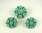 Vintage Plastic Buttons... Turquoise Plastic & Rhinestone Flower Buttons...Vintage Rhinestone Buttons (3)... Lot 10B