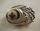 REDUCED -- Unusual Sterling Wedgwood Jasper Blue Daisy Brooch -- Scandinavian Looking
