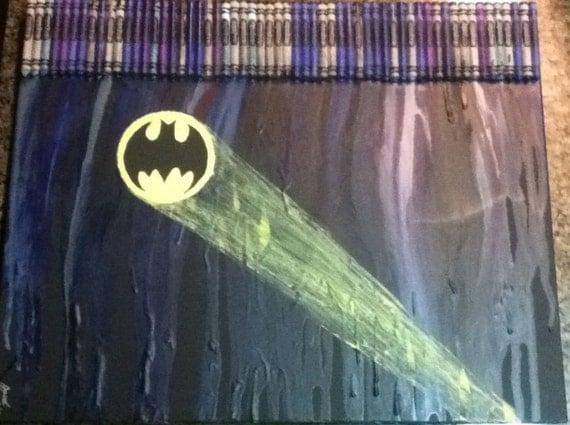 Batman Symbol Melted Crayon Art