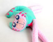 Stuffed animal soft safe for child toy Lazy cat. Fleece cotton colorful sweet cat. OOAK