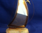 "Baller Sailboat - SIGNED ""DeMott"" - Brass on Stone - BALLER"