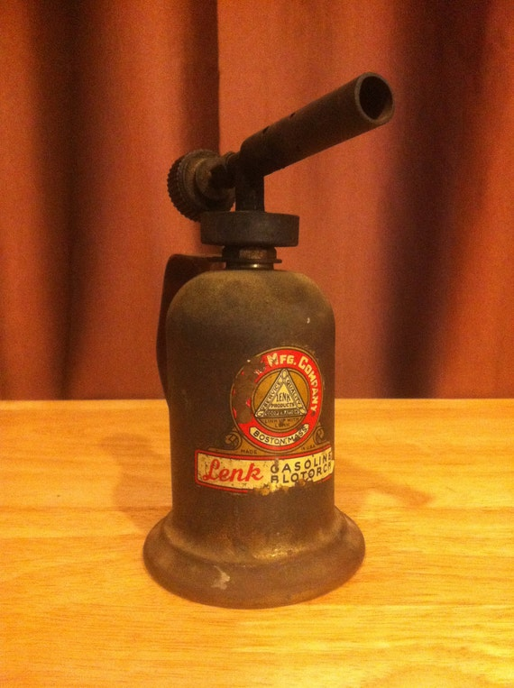 Antique Lenk Mfg Company Brass Gasoline Blowtorch - AWESOME