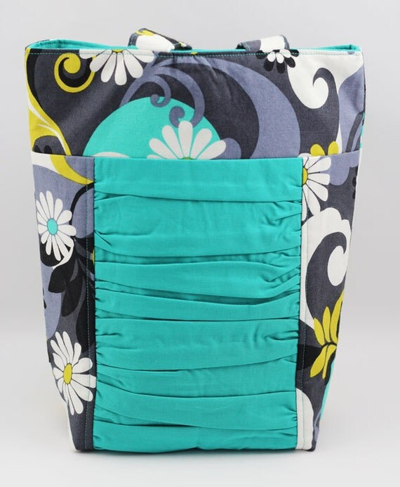 SMALL Ruffled Tote - Teal, Gray, and Yellow Swirl - ON SALE