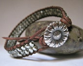 Beaded Leather Bracelet, Metallic Mint, boho, single wrap