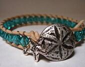 Leather Wrap Bracelet, Turquoise Ocean Beaded Single Wrap, Boho Chic