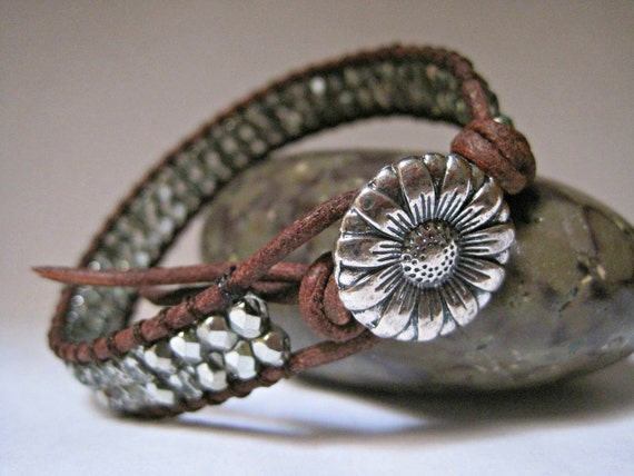 Beaded Leather Bracelet, Metallic Mint, boho, single wrap