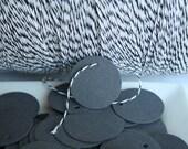 100 Grey Hang Tags or Gift Tags - 1.25 inch