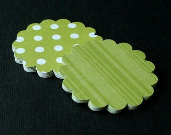 "25 - 2.25"" Green 2 Sided Scallop Circle Tags for Cupcake Toppers, Scrapbooking, Gift Tags, Labels and more"