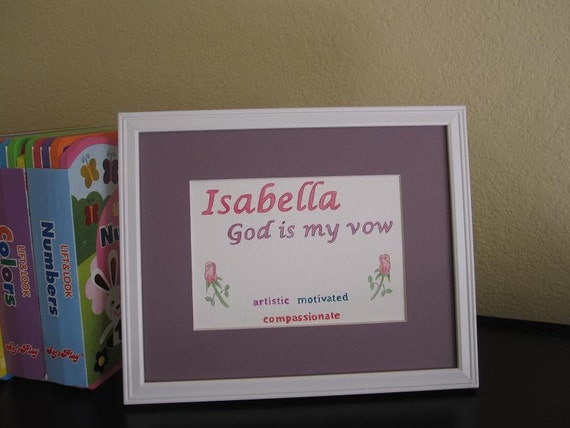 Items similar to Isabella Name Meaning Art-Handmade on Etsy