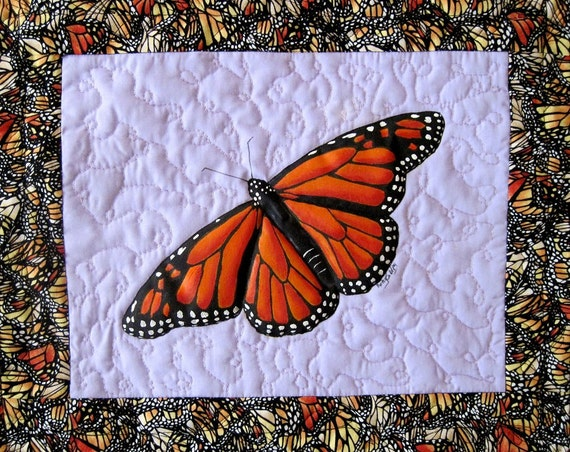 Monarch Butterfly Painted and Quilted Wall Hanging, Original Art,  11 x 14 inches