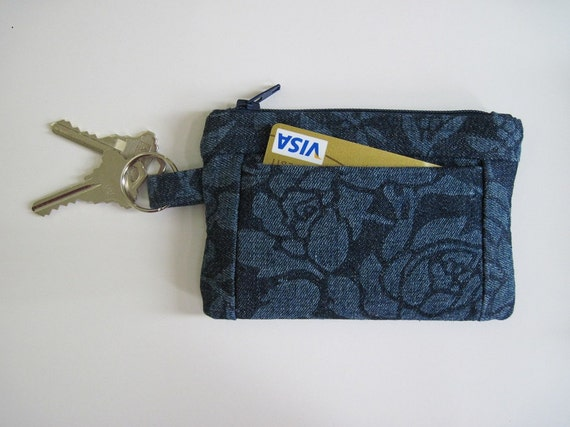 Denim Zipper Coin Wallet,  Pockets and Key Ring, 5.25 x 3.5 inches