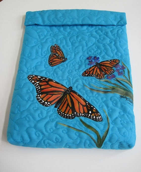 iPad Sleeve, Monarch Butterflies, Original Artwork with Quilting,  8.75 x 11 x 1 inches