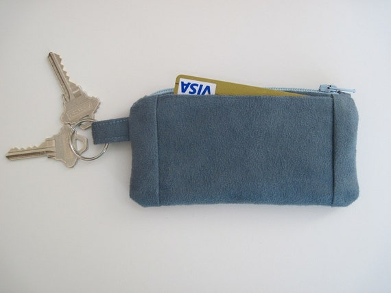 Blue Suede Wallet, Zipper, Key Ring and Pockets, 2.75 x 5 25 inches