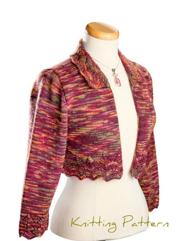 Knitting Pattern Lace Jacket : Lace Edge Bolero Jacket Knitting Pattern