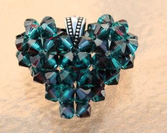 B&B, Burgundy/Blue Topaz Swarovski Crystal Heart, Deep Blue Sea, Deep Ocean Water, Handmade Swarovski Crystal Heart Necklace, Puffed Heart