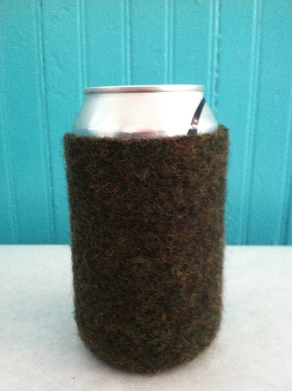 FREE SHIPPING on all koozies Green koozies, felted upcycled sweater, reclaimed, eco-friendly