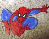Handpainted Spiderman wood childrens Boys wall decor hanging art