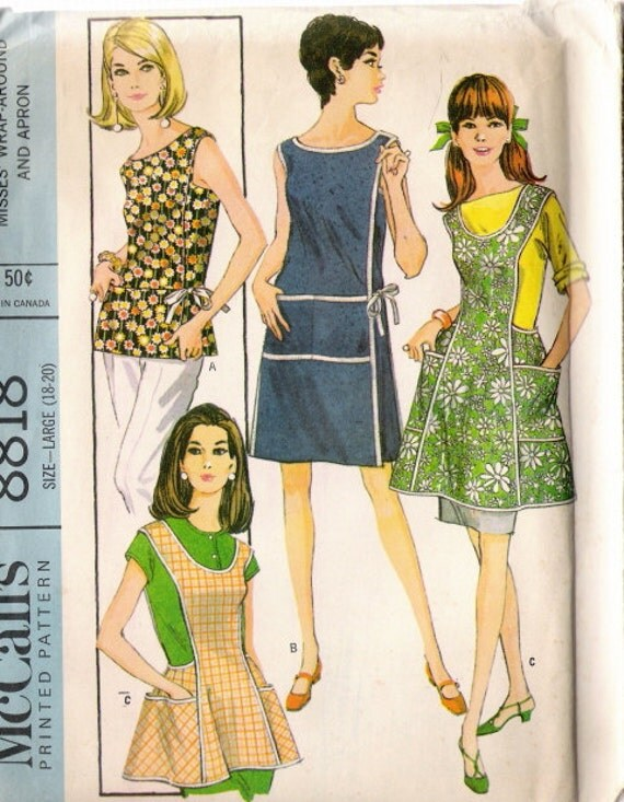 1967 McCall's 8818 Misses Wrap Around & Apron Sewing Pattern size Large 18-20 Uncut