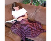 Ripple Berry Wrap - Shawl - Afghan - Purple - Crochet