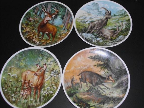 items similar to 4 royal porzellan bavaria kpm germany handarbeit plates stags rams big game on etsy. Black Bedroom Furniture Sets. Home Design Ideas